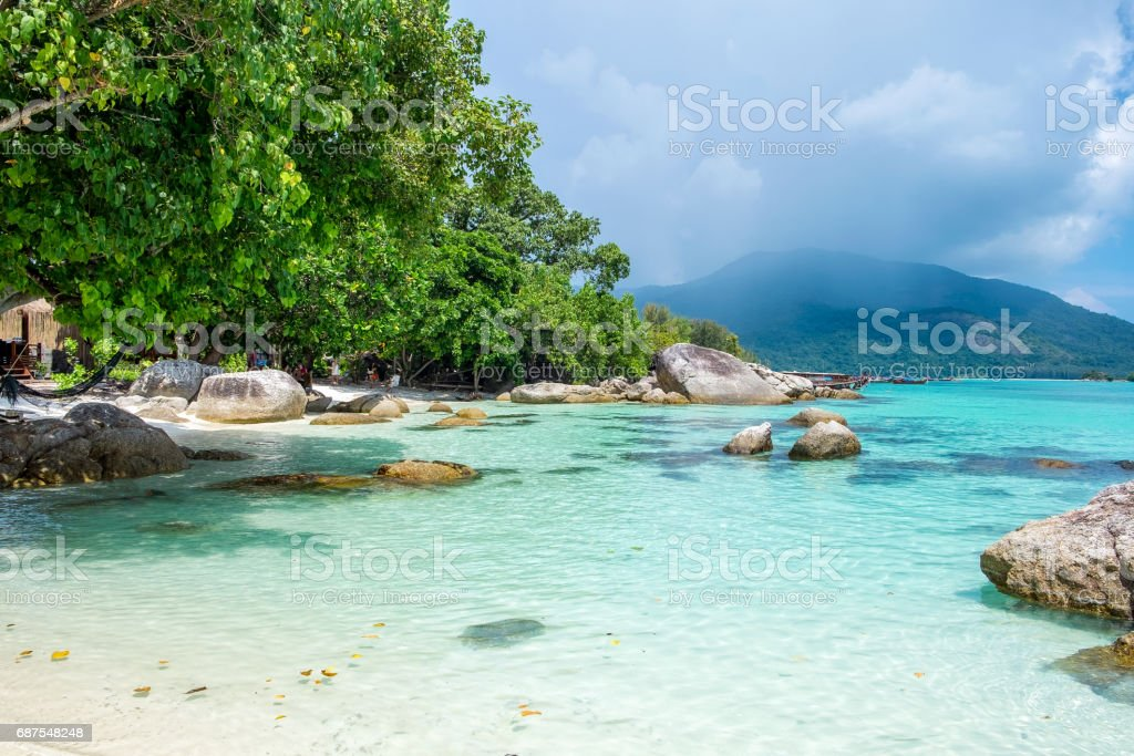 Beautiful coastline crystal sea at lipe stock photo