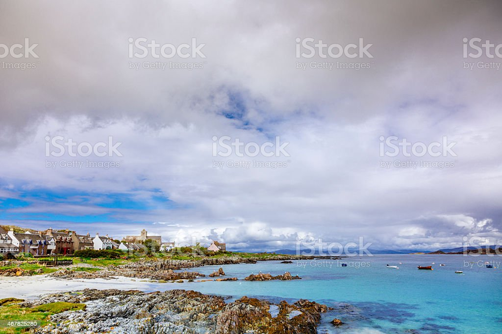 Beautiful Coastline of Iona, Scotland stock photo