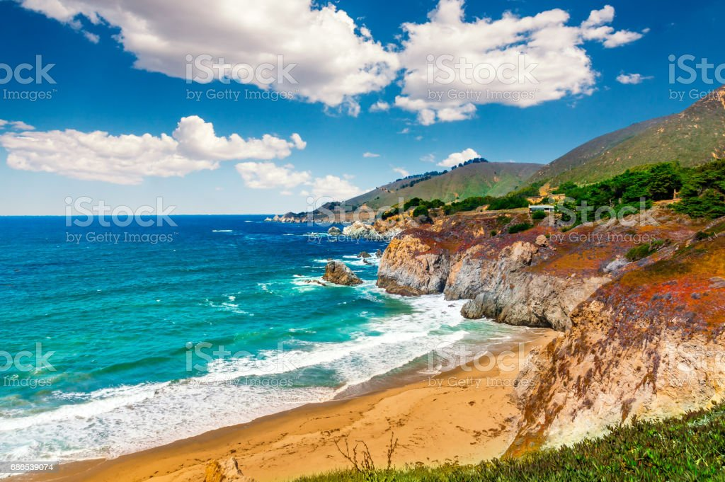 Beautiful coastline scenery on Pacific Coast Highway #1 at the US West Coast traveling south to Los Angeles, Big Sur Area, California. Picture made during a motorbike road trip. stock photo