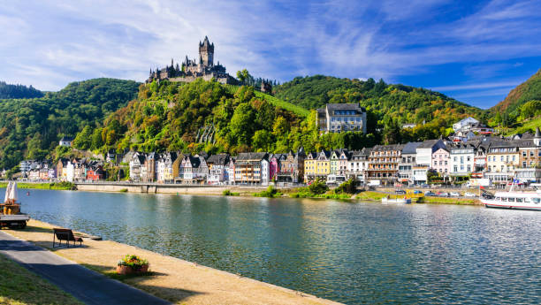 Beautiful Cochem town- Germany. Romantic Rhein river cruises. charming towns of Germany romanesque stock pictures, royalty-free photos & images