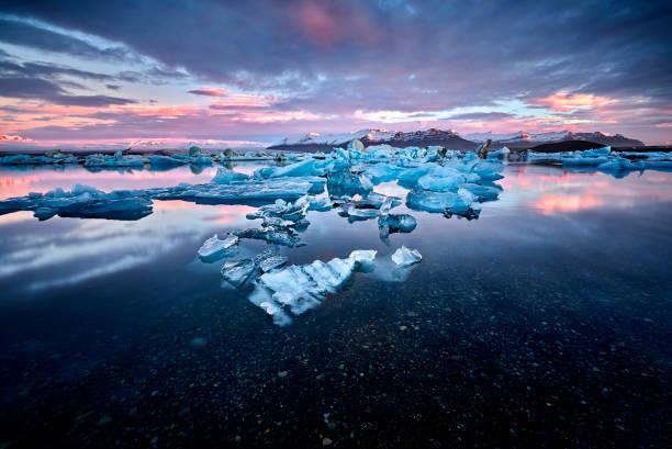 Beautiful cold landscape picture of icelandic glacier lagoon bay stock photo