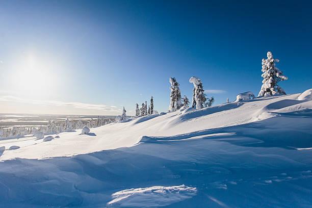 beautiful cold mountain view of ski resort, sunny winter day - norrbotten bildbanksfoton och bilder