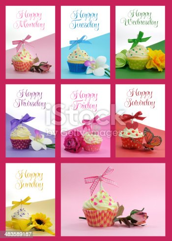 istock Beautiful collage of cupcakes, for each day of the week 483589187