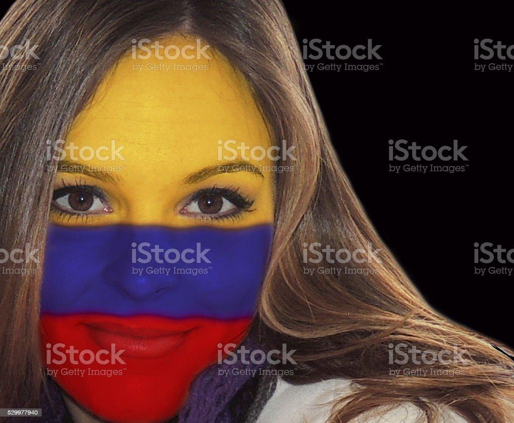 Beautiful Colombian lady fan stock photo