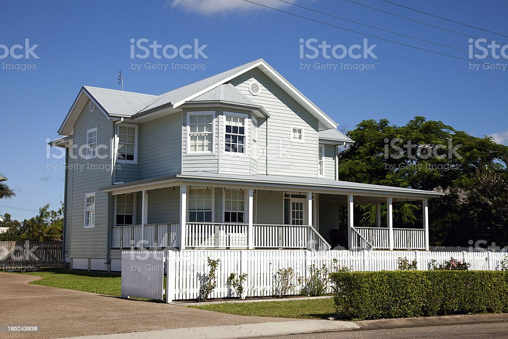 Beautiful Colonial Home with blue sky stock photo