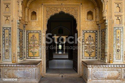 Beautiful colored and ornamented doors in Jaipur, Rajasthan, India.