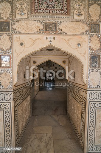 Beautiful colored and ornamented doors in Jaipur, Rajasthan, India