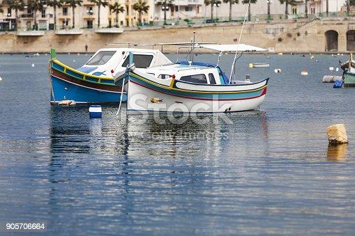 istock Beautiful colored small fishing boats in Marsaskala, Malta, 905706664