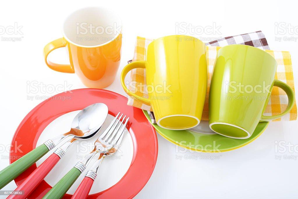 Beautiful colored tableware stock photo