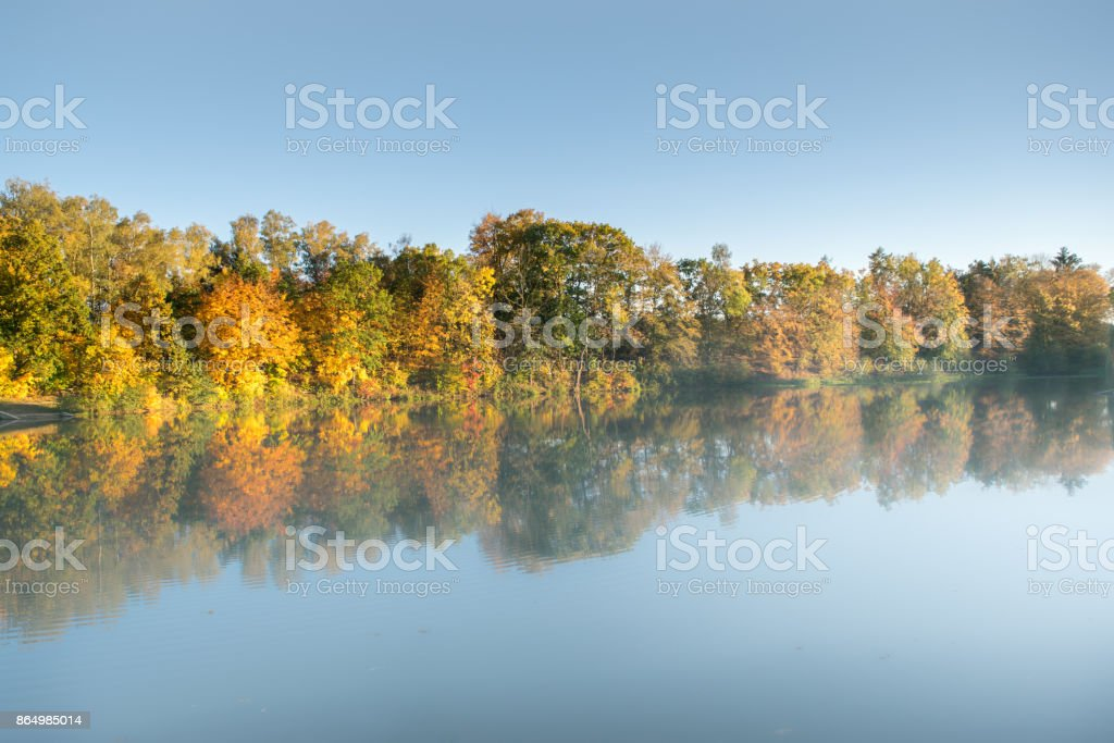 Beautiful colorful autumn trees at the around the pond stock photo