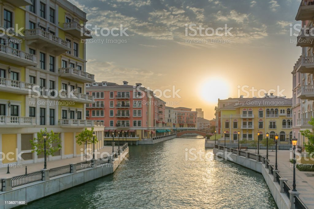 Residential area of Qanat Quartier, The Pearl - Doha. This area is...