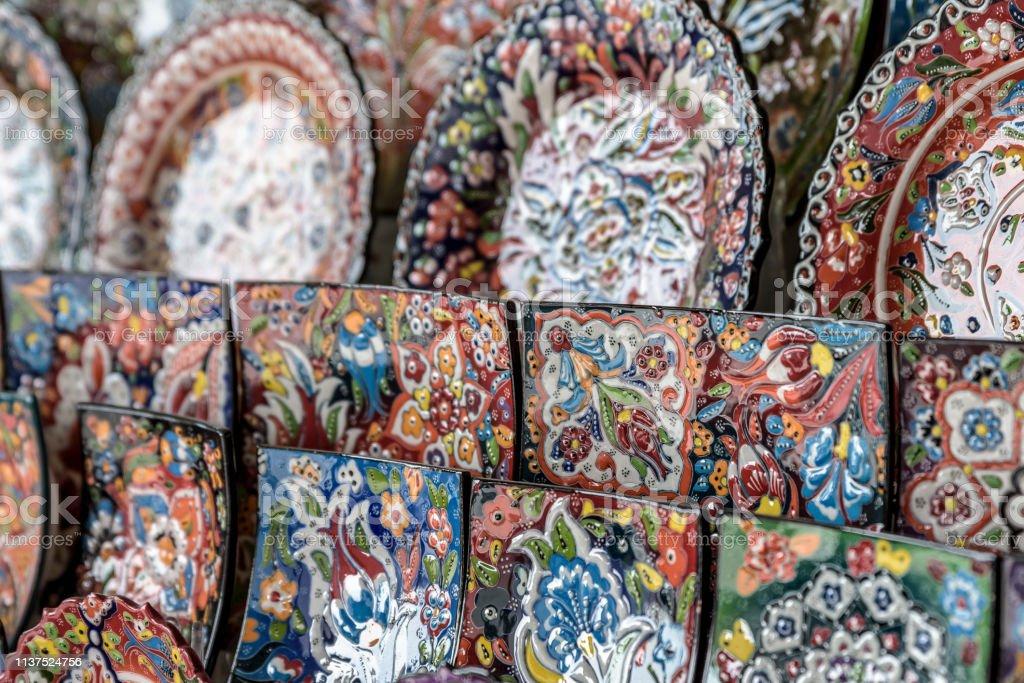 Plates For Sale >> Beautiful Colorful Ceramic Plates For Sale In A Dubai Souk