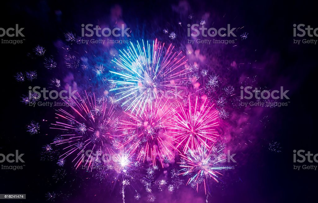 beautiful colorful firework at night Fireworks 2014 Stock Photo