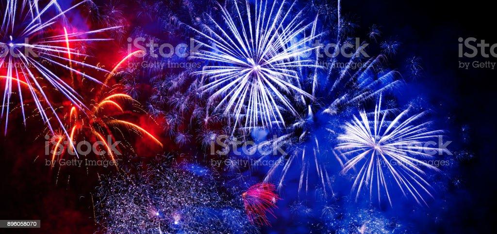 Beautiful colorful firework at night Fireworks Display 2017 Stock Photo