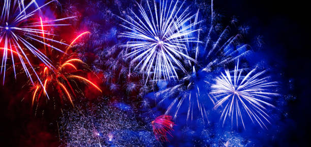 beautiful colorful firework at night - fireworks stock pictures, royalty-free photos & images