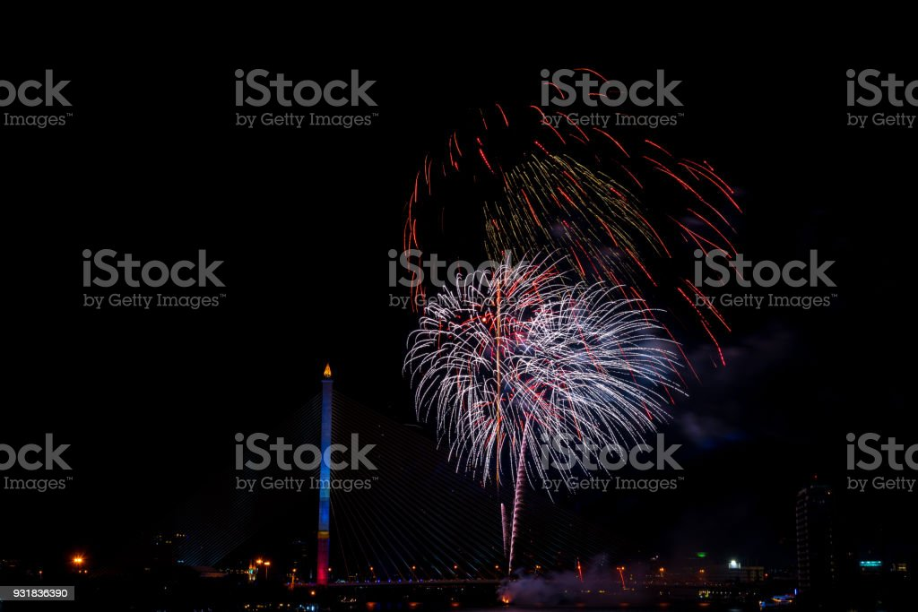 Beautiful colorful firework display for celebration happy new year and merry christmas in the night sky, bangkok city, thailand stock photo