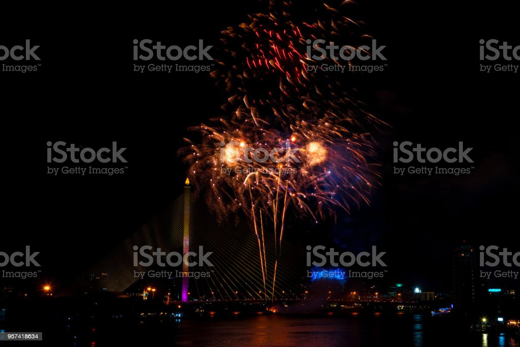 beautiful colorful firework display for celebration happy new year and merry christmas in the night sky