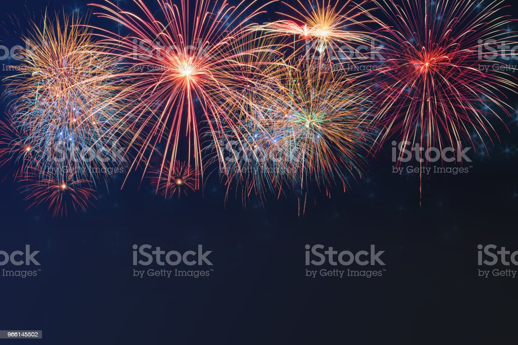 Beautiful colorful firework display on celebration night - Royalty-free Abstrato Foto de stock