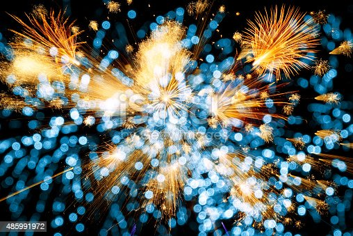 istock beautiful colorful firework with abstract lights 485991972