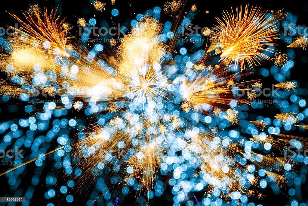 beautiful colorful firework with abstract lights stock photo