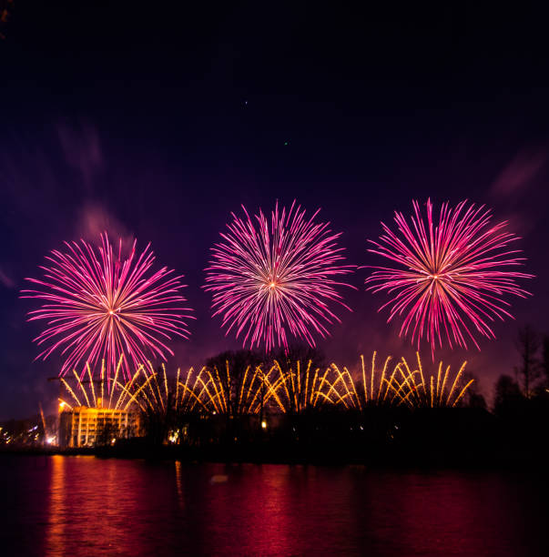Beautiful, colorful fireworks above the river during an Independence day in Riga, Latvia. stock photo