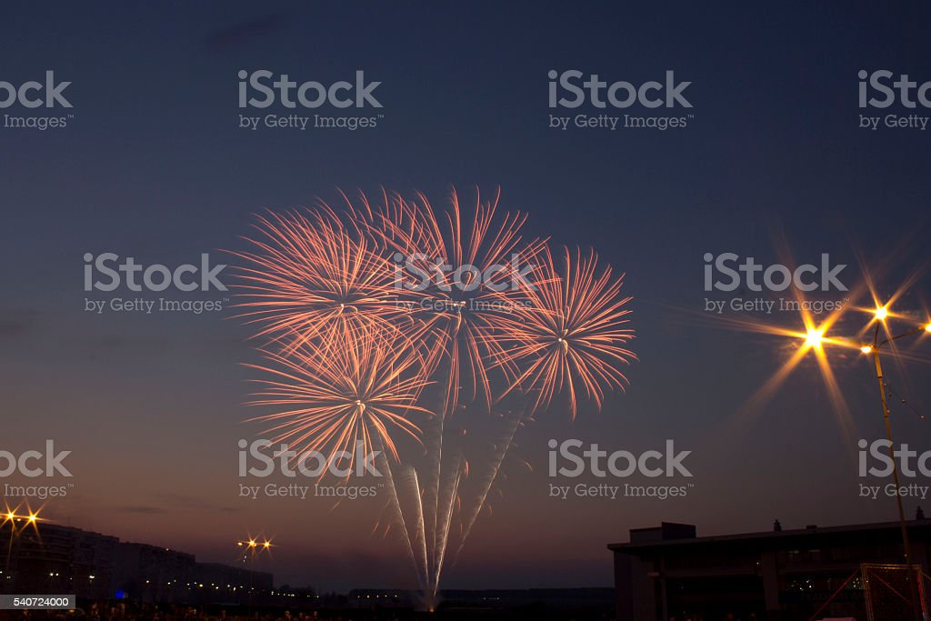 Beautiful colorful fireworks royalty-free stock photo
