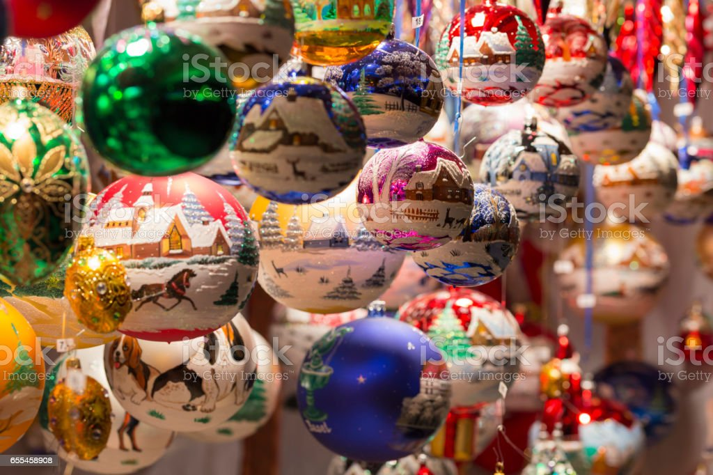 Beautiful colorful handmade christmas tree balls and decorations stock photo