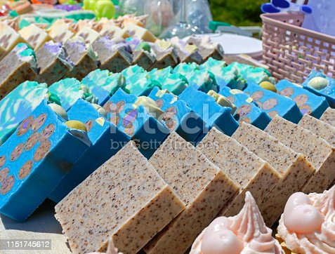 Beautiful colorful handmade soap. Soap manufacture Eco goods. Fair - an exhibition of folk craftsmen.