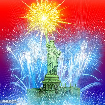 istock Beautiful colorful holiday fireworks over The Statue of Liberty 536680770