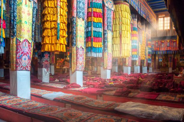 schöne bunte inneneinrichtung des tibetisch-buddhistischen tempel, tibet - nepal tibet stock-fotos und bilder