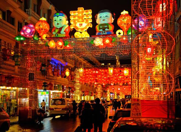 中国の旧正月を祝うための美しいカラフルな提灯 ストックフォト