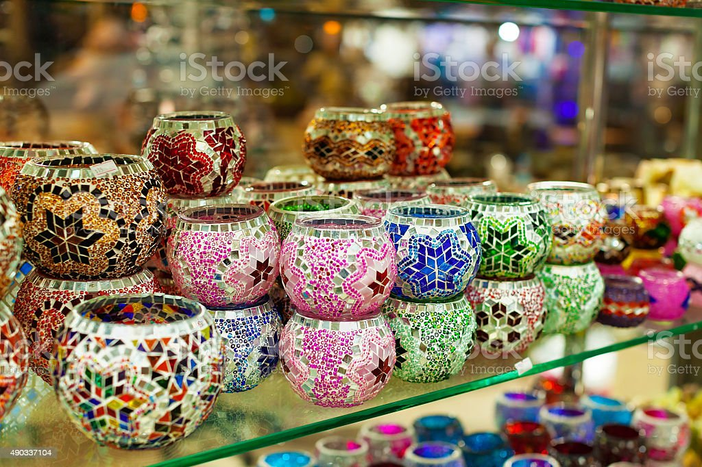 Beautiful colorful lanterns on street stock photo