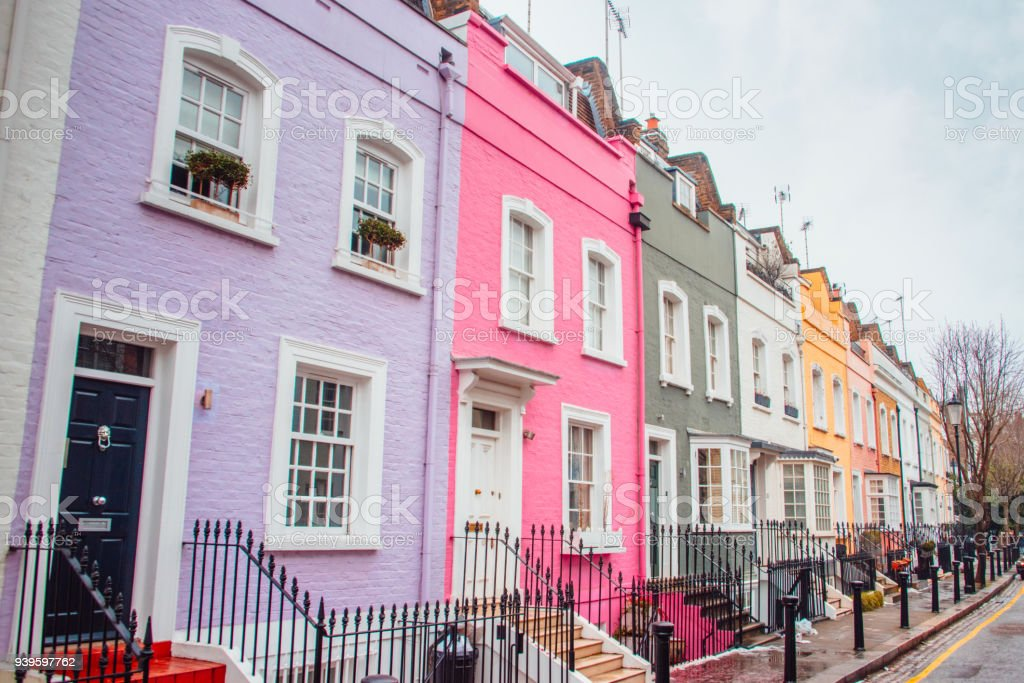 Beautiful colorful London houses stock photo