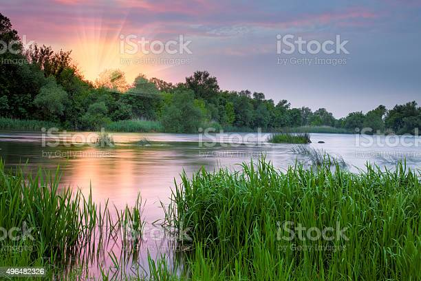 Photo of Beautiful colorful morning near the river