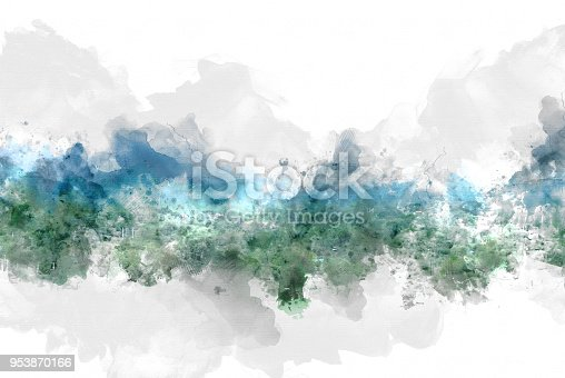 istock Beautiful colorful mountain peak watercolor painting background. 953870166