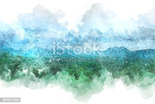 istock Beautiful colorful mountain peak watercolor painting background. 953870332