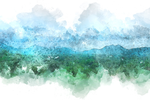 Beautiful colorful mountain peak watercolor painting background.