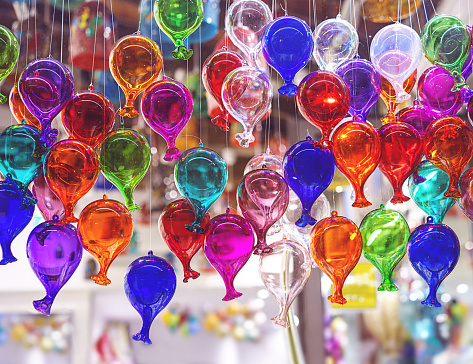 beautiful colorful murano glass balls handmade in Venice, Italy. Colorful balloons made of Venetian Murano Glass. Traditional carnival in Venice