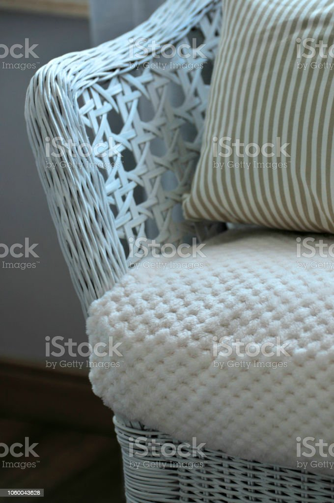 Stupendous Beautiful Colorful Pillow Setting On White Rattan Sofa Chair Squirreltailoven Fun Painted Chair Ideas Images Squirreltailovenorg