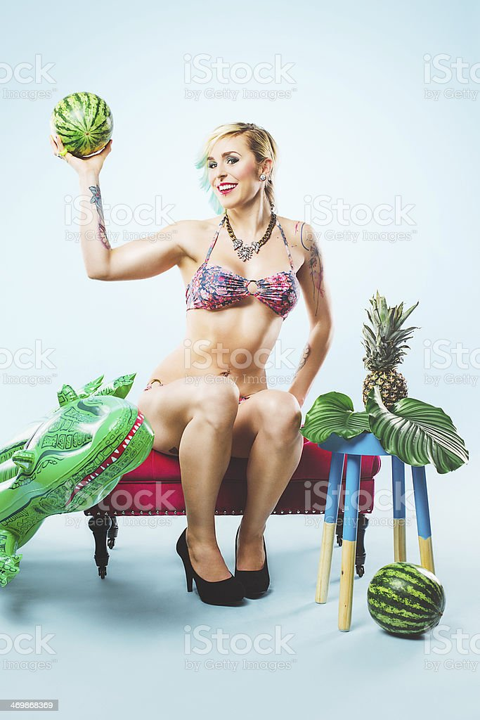 Beautiful colorful portrait of woman in bikini stock photo