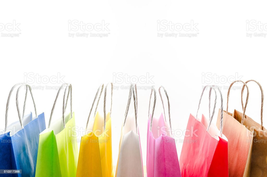 Beautiful colorful shopping bags stock photo