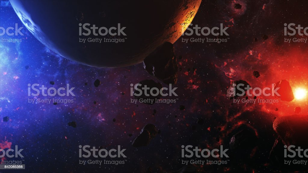 A beautiful colorful space with asteroids with sounds and a planet 3d illustration stock photo