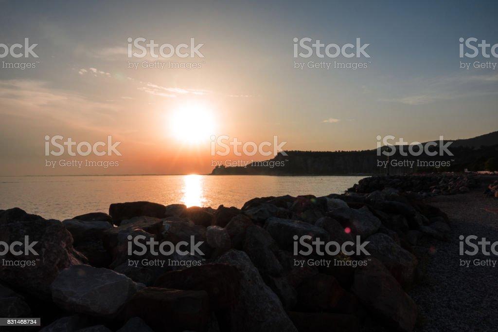 Beautiful colorful sunset . Beauty world natural outdoors travel background stock photo