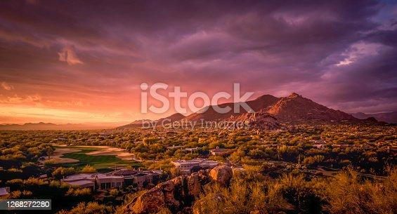 istock Beautiful colorful sunset over Phoenix,Az,USA 1268272280
