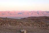 Red sunset in the desert