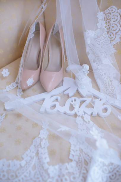 8b8ed85ff86 Beautiful colorful wedding shoes for bride indoors stock photo