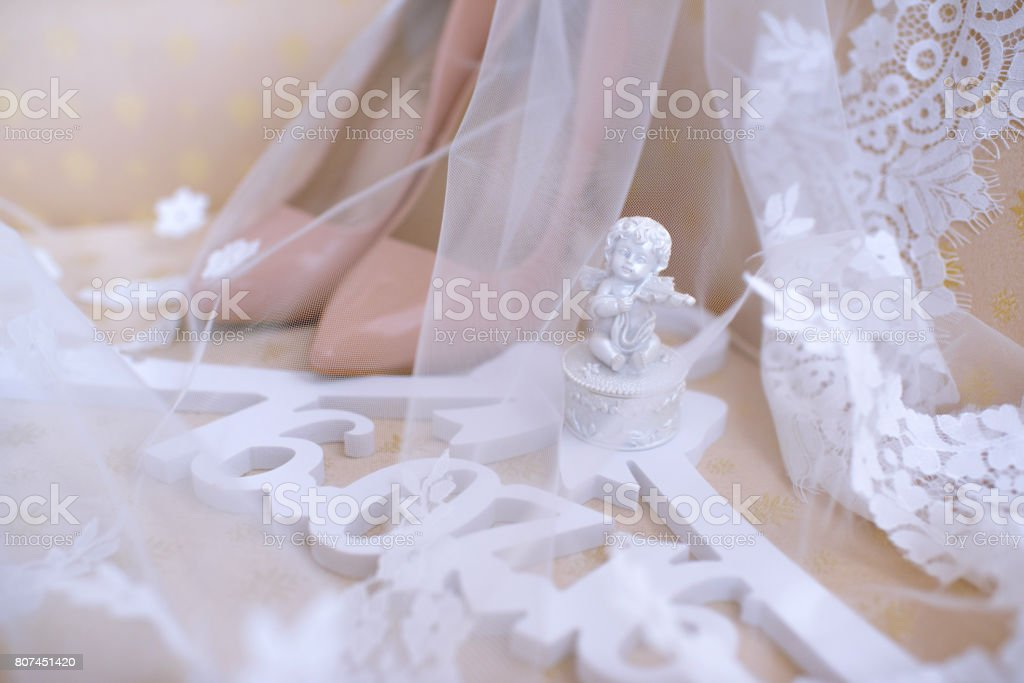 4842926514f Beautiful colorful wedding shoes for bride indoors royalty-free stock photo