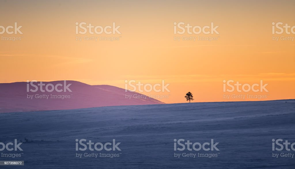 A beautiful colorful winter sunset in a central Norway. royalty-free stock photo