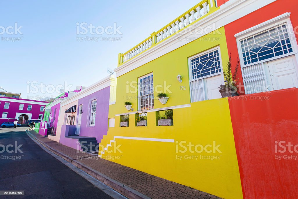 Beautiful colourful houses in Bo Kaap stock photo