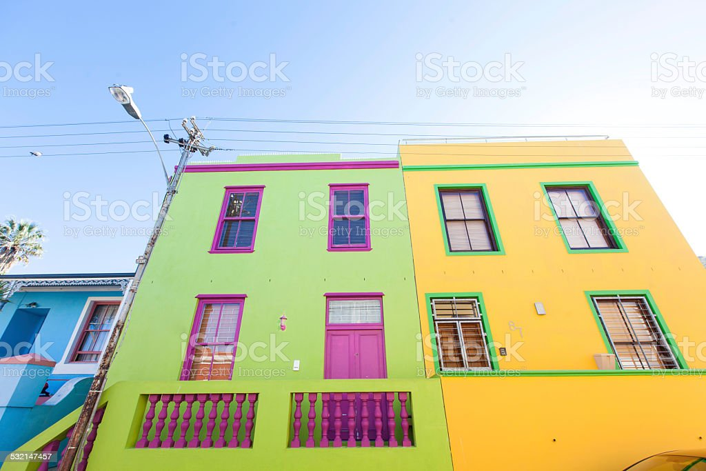 Beautiful colourful houses in Bo Kaap stock photo